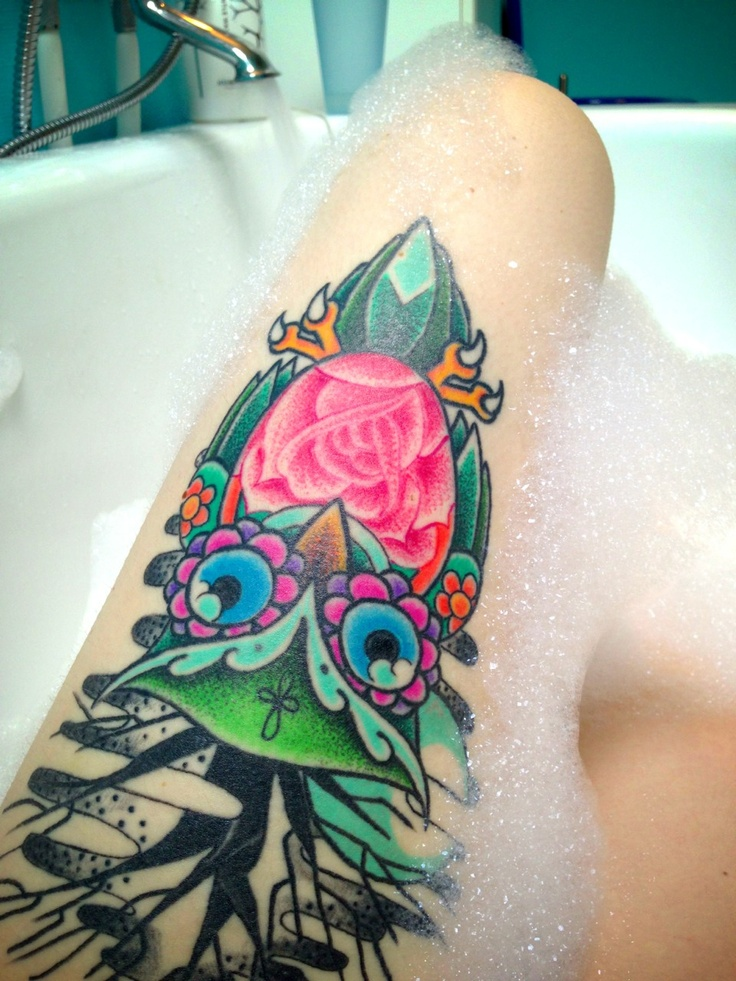 Floral colored owl tattoo on thigh for Colorful thigh tattoos