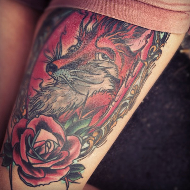 Fox And Red Rose Thigh Tattoo