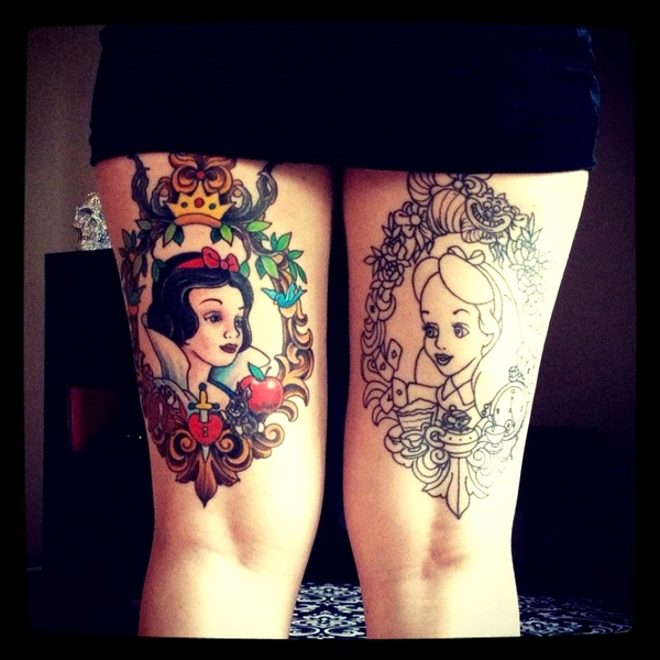 Girl head in frame tattoo on back thighs for Tattoos on back of thighs