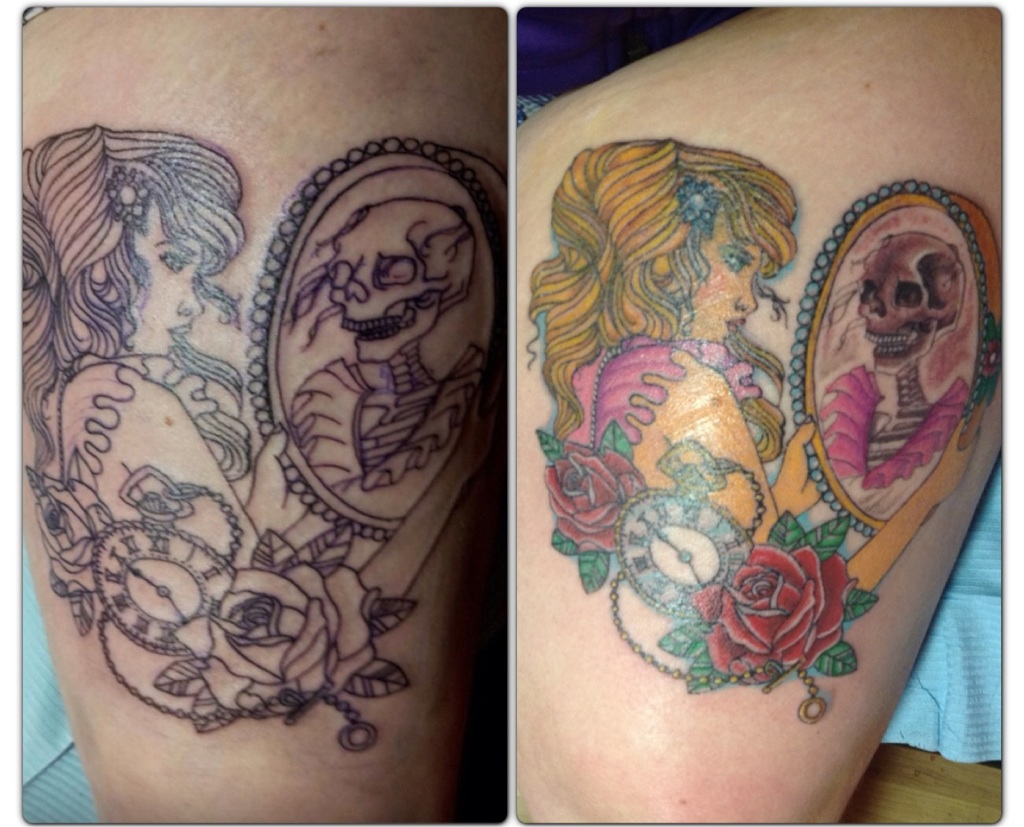 Girl With Mirror And Rose Flowers Thigh Tattoo