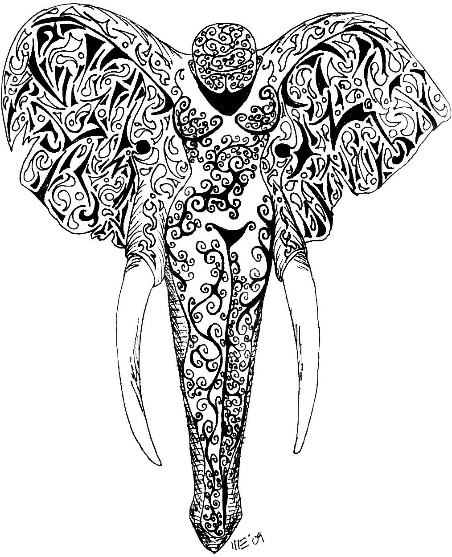 Grey Ink Elephant Tatt...