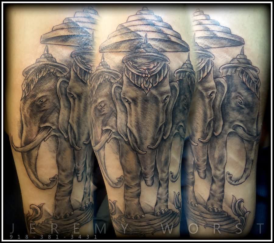 grey three headed elephant tattoo. Black Bedroom Furniture Sets. Home Design Ideas