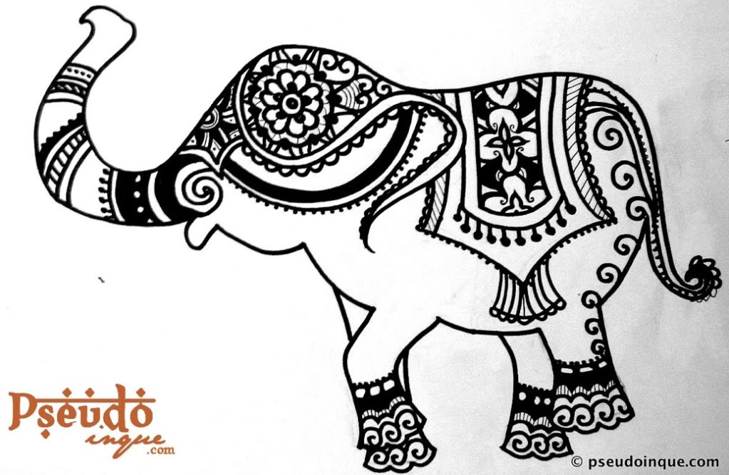 Henna Elephant Coloring Pages