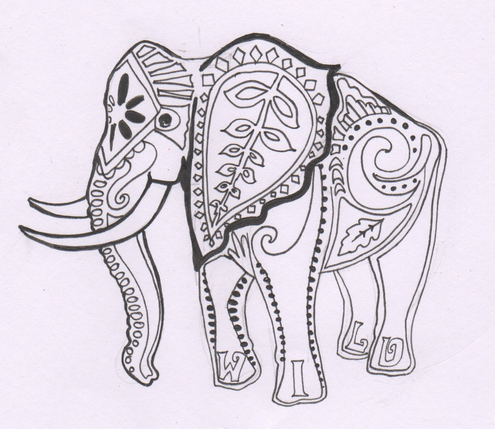 Elephant tattoo images designs for Henna coloring pages