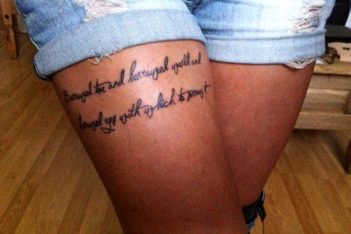 lettering quote thigh tattoo