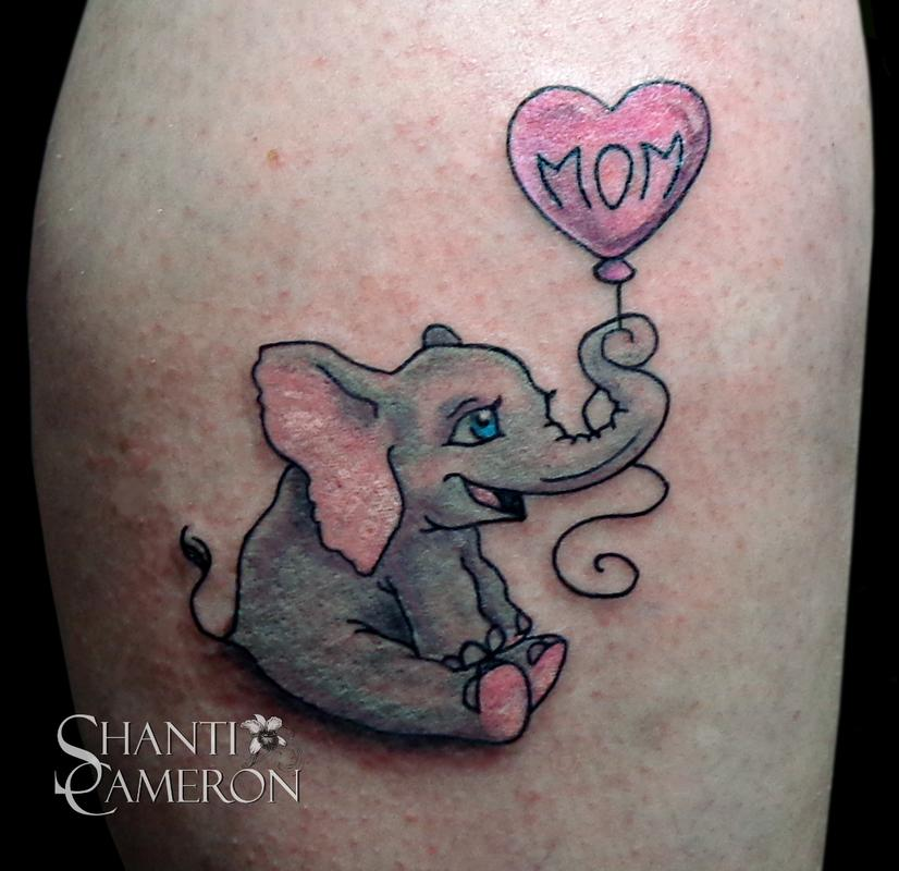 mom balloon and baby elephant tattoo. Black Bedroom Furniture Sets. Home Design Ideas