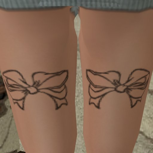 outline bow thigh tattoo. Black Bedroom Furniture Sets. Home Design Ideas