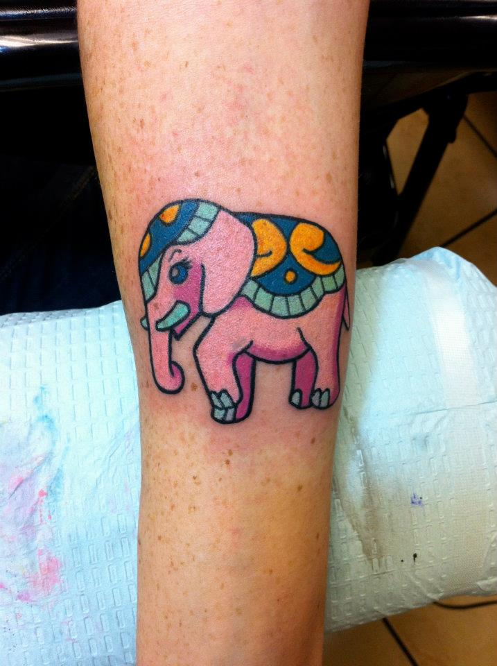 Pink Elephant Tattoo on Arm