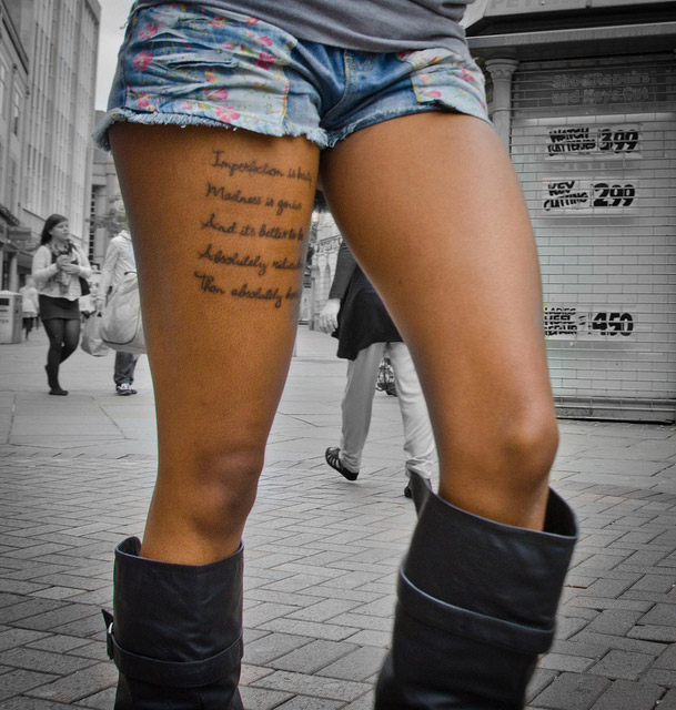 Quote Thigh Tattoo For Girls