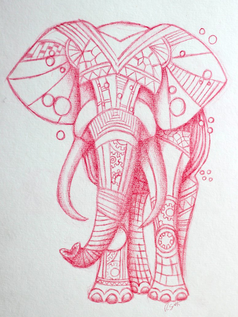 Firefighter tattoos designs and ideas - Red Ink Elephant Tattoo Designs