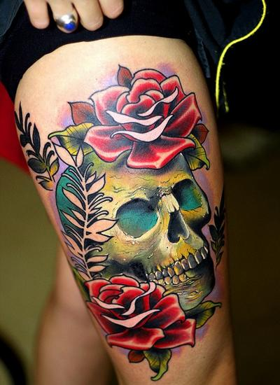 Red roses and skull thigh tattoo for Skull leg tattoos
