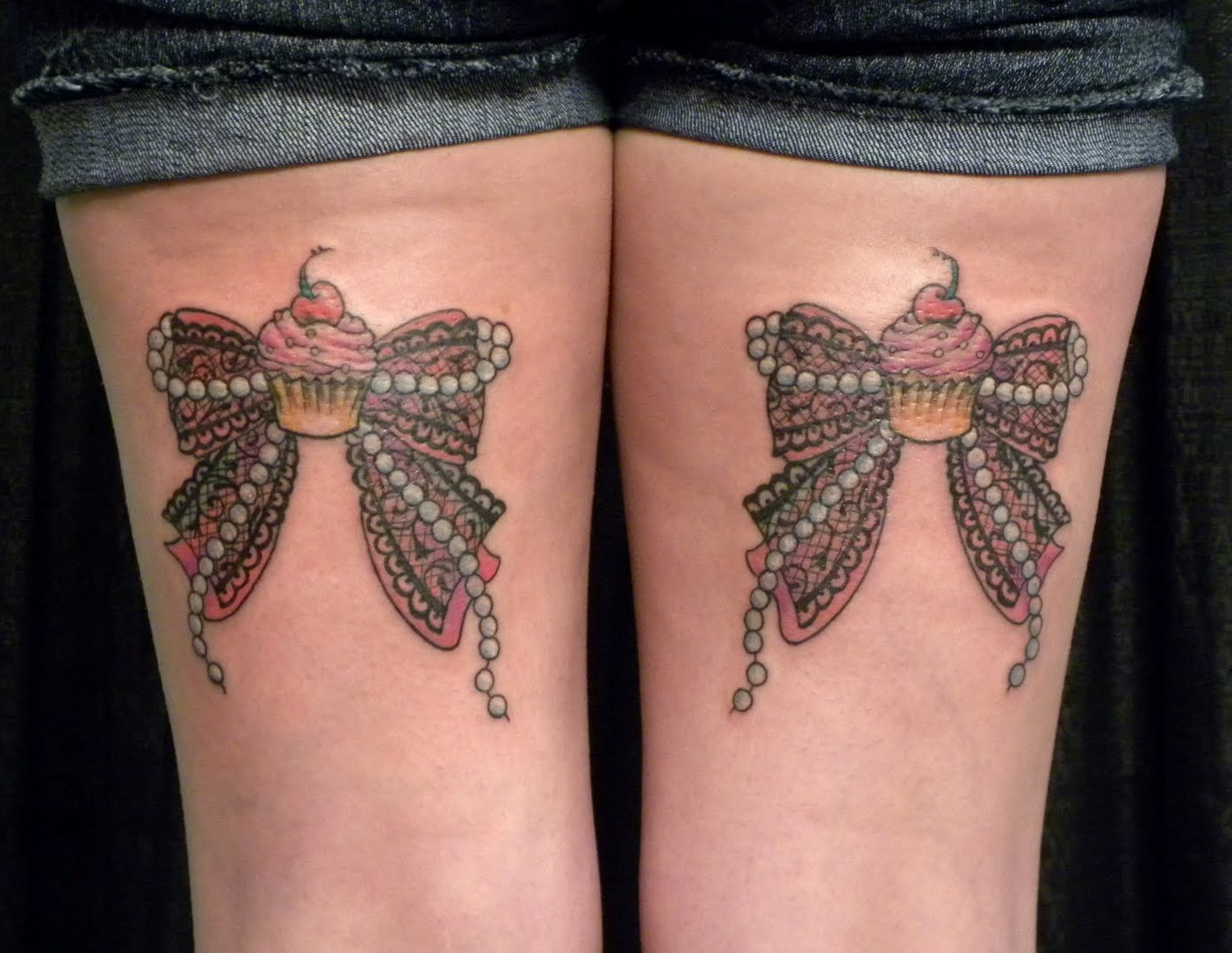 Ribbon bow tattoos on back thigh for Tattoos on back of thighs