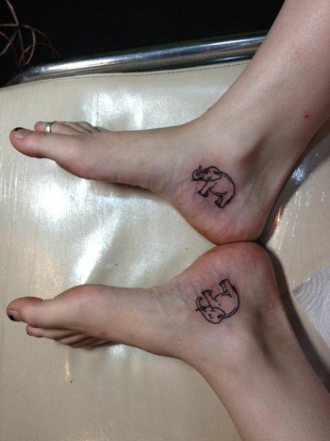 Small elephant tattoos on girl heel for Small elephant tattoo