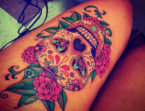 Thigh tattoo images designs for Skull leg tattoos