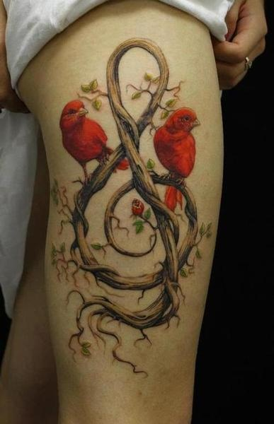 Tree Violen Key And Colored Birds Thigh Tattoo