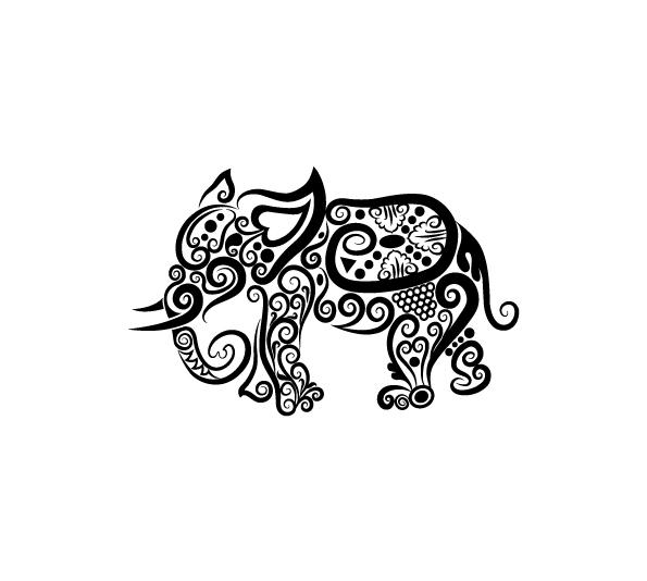 unique black tribal elephant tattoo design. Black Bedroom Furniture Sets. Home Design Ideas