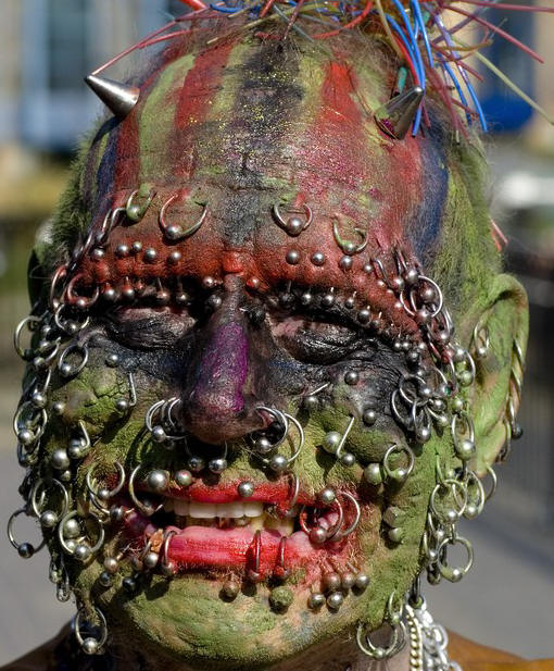 Amazing extreme face tattoo and piercing for Jobs that allow piercings tattoos and colored hair