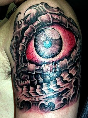 Amazing Grey Ink Biomechanical Eye Tattoo On Shoulder