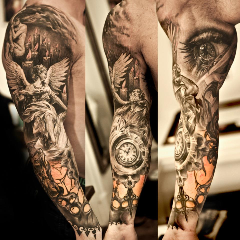 Arch Angel  Pocket Watch And Eye Tattoo On Sleeve