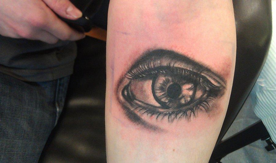 Awesome Black Ink Eye Tattoo On Sleeve