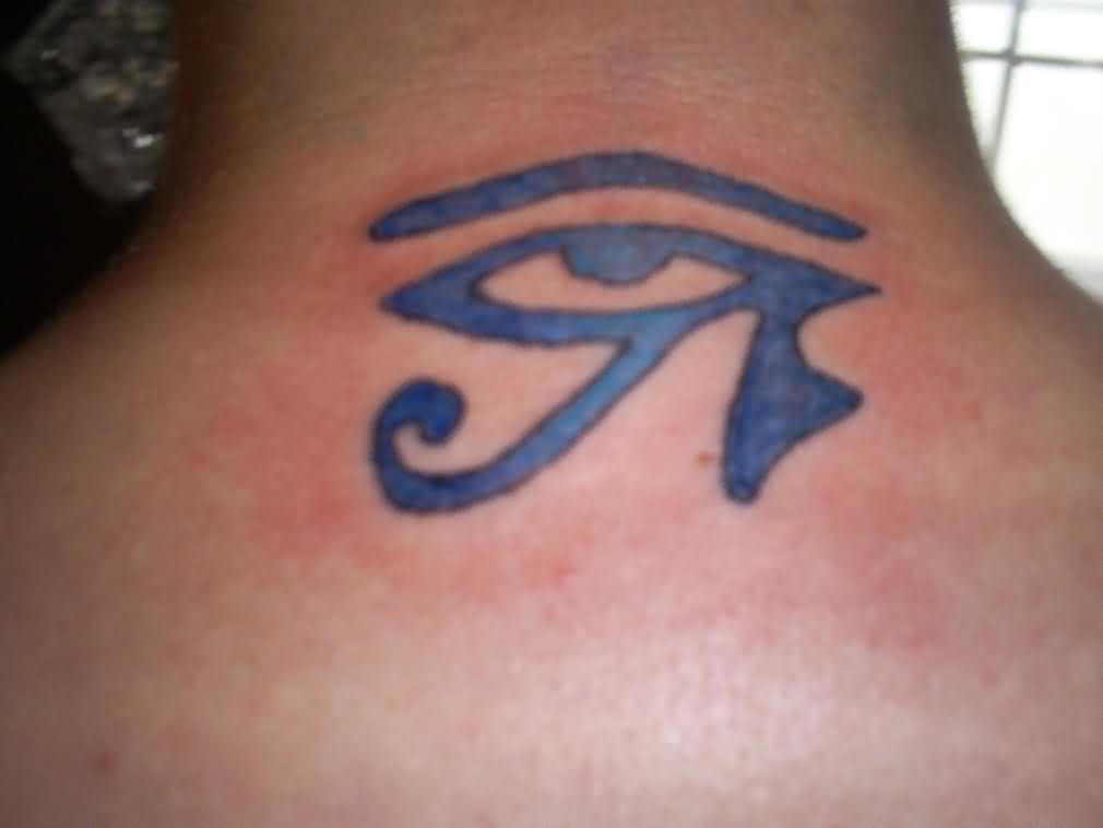 Blue Egyptian Eye Tattoo On Upperback