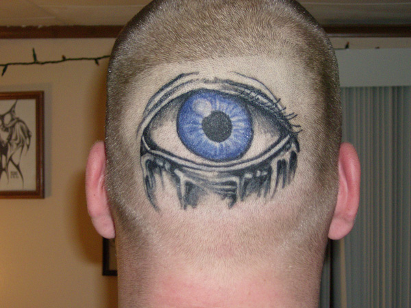 Blue Eye Tattoo On Man Head