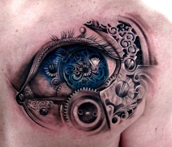 Colored Biomkechanical Eye Tattoo On Chest