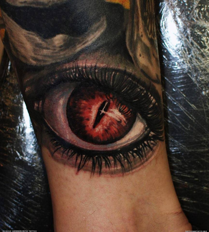 3d Tattoo Leg Dark ink 3d eye tattoo on leg