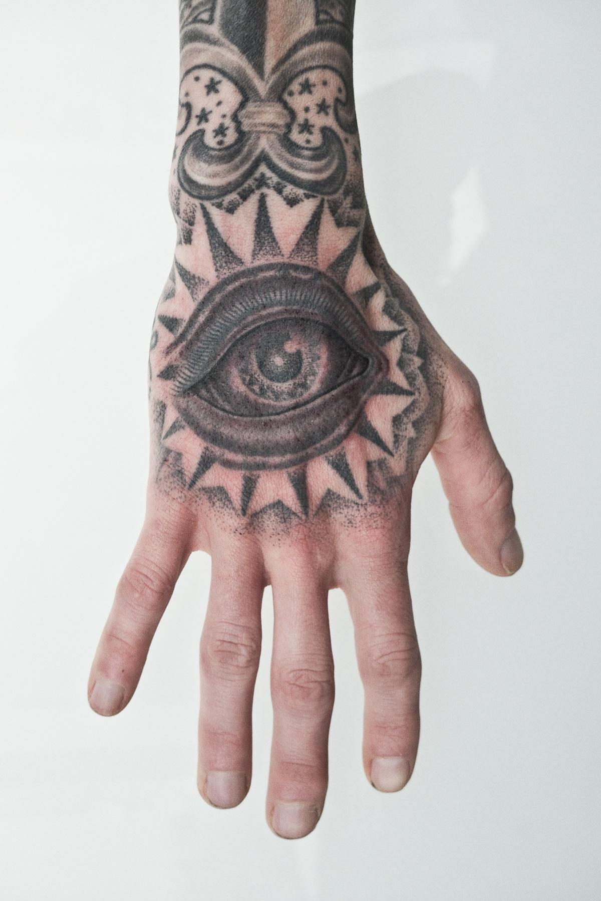 Grey ink eye tattoo on right hand for Eye finger tattoo