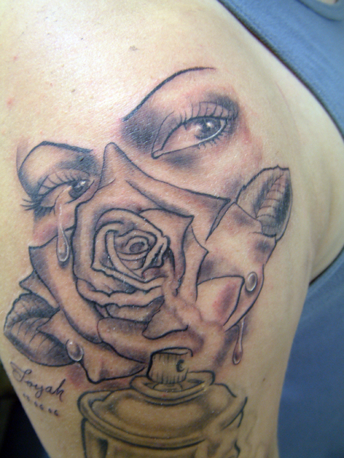 Eye In A Rose Tattoo: Grey Rose Flower And Girl Crying Eyes Tattoo