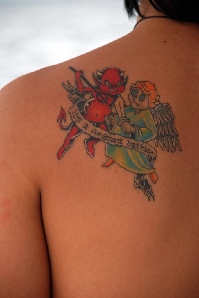 angel devil shoulder tattoo - photo #7