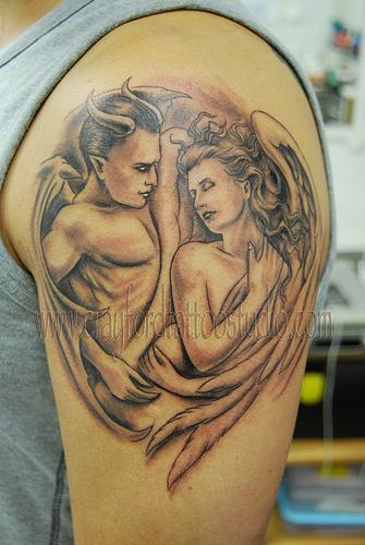 angel devil shoulder tattoo - photo #11