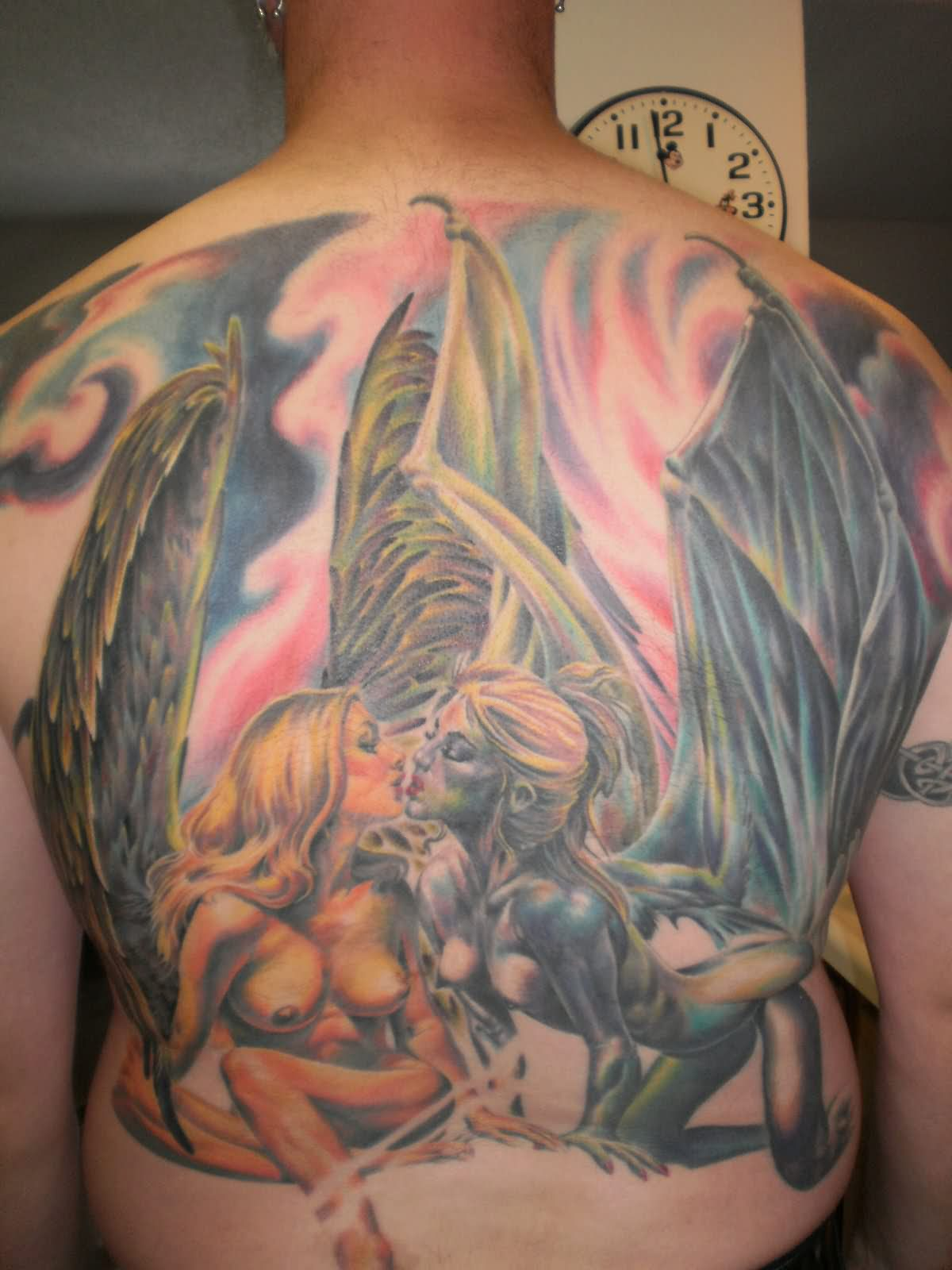 c08247ee9 Colored Ink Devil Back Body Tattoo For Girls