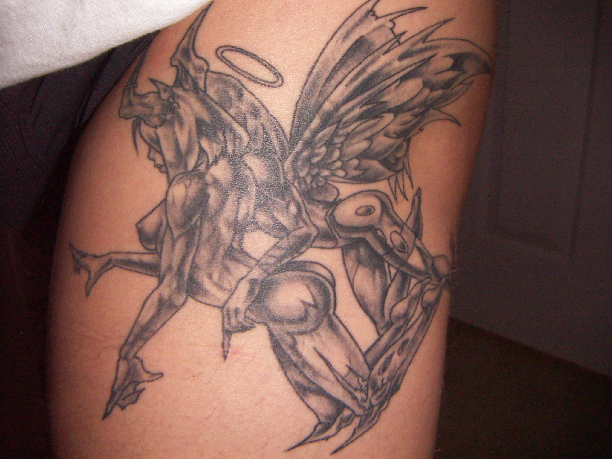 beautiful angel n devil tattoo design. Black Bedroom Furniture Sets. Home Design Ideas
