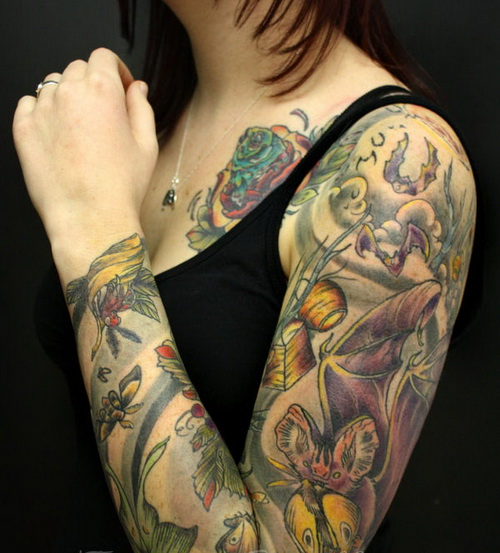 Extreme tattoo images designs for Bat sleeve tattoo