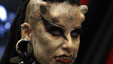 Extreme Vampire Face Tattoo For Girls