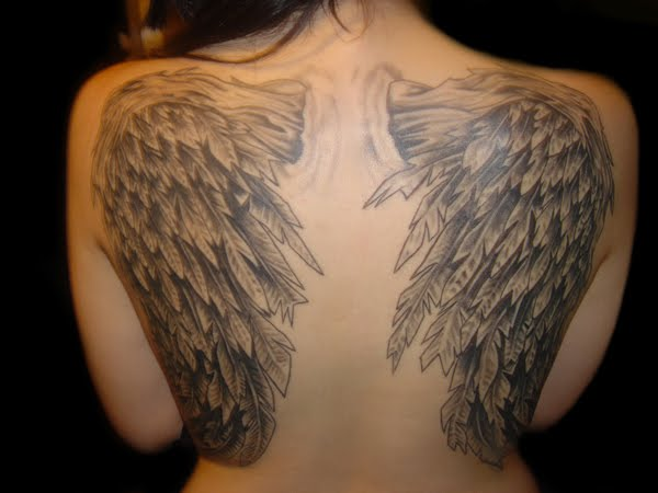 Grey Ink Angel Wings Extreme Tattoo On Back