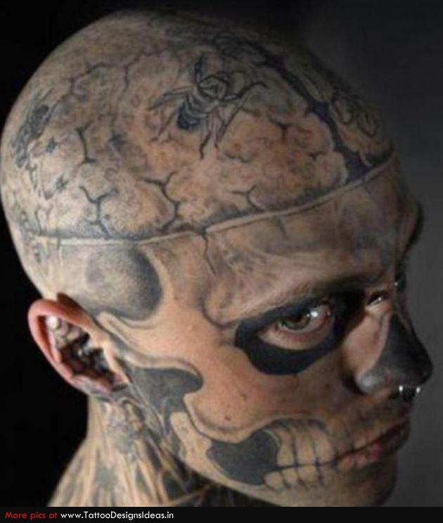 Skull Drama Face Tattoo: Grey Ink Extreme Skull Face Tattoo
