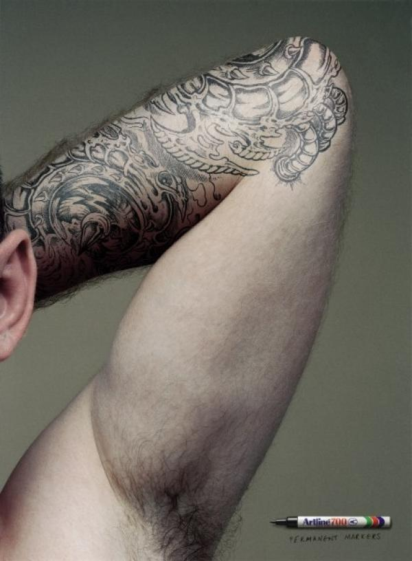 Grey Ink Left Elbow Tattoo For Men