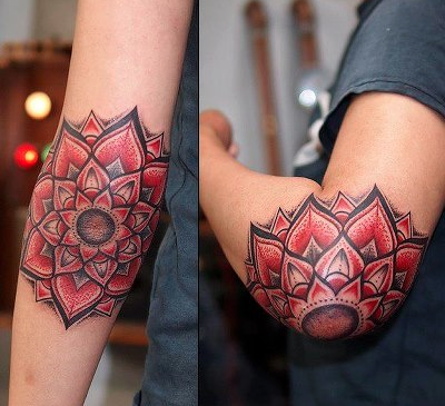 Elbow tattoo images designs for Red flower tattoo