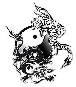 attractive dragon and tiger yin yang tattoo design. Black Bedroom Furniture Sets. Home Design Ideas