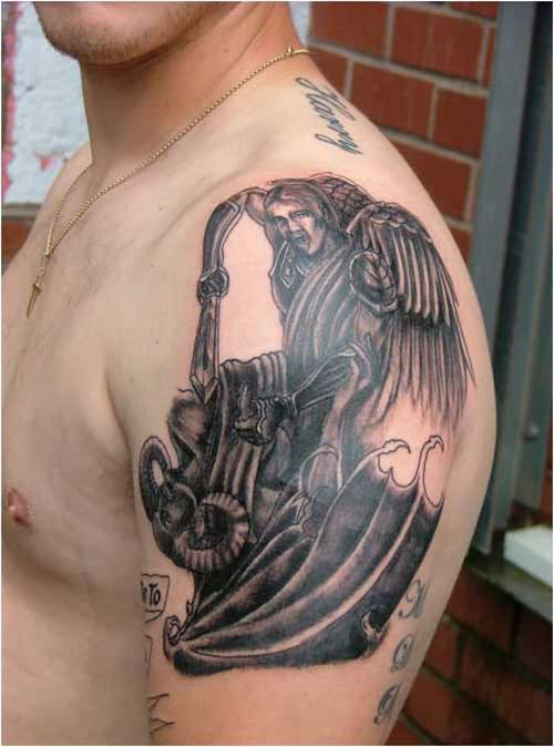 Awesome Grey Ink Angel And Devil Tattoo On Left Shoulder