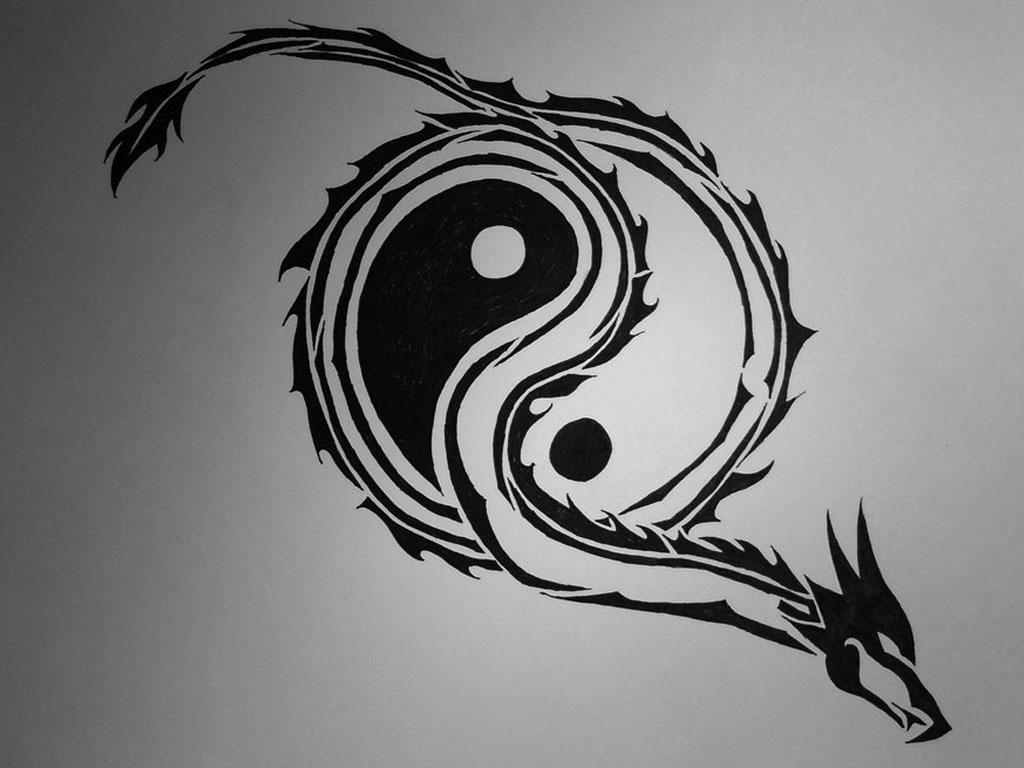 Tribal Dragon Yin Yang Tattoo
