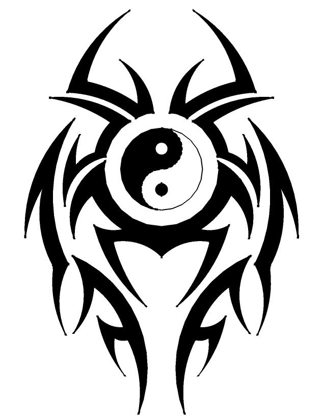 Black Tribal And Yin Yang Symbol Tattoo Design