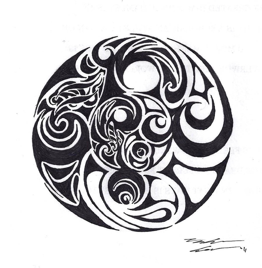 Tribal yin yang pictures to pin on pinterest tattooskid for Architecture yin yang