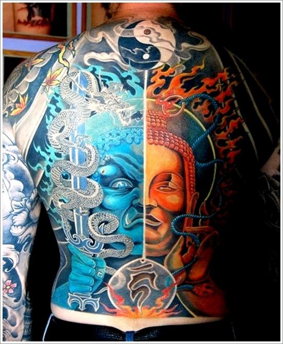 Buddha And Yin Yang Tattoo On Back