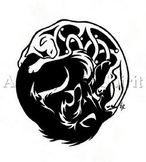 Celtic Cat Yin Yang Tattoo Design