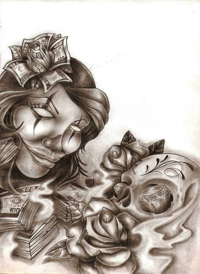 Chicano clown girl tattoo design for Chicano clown girl tattoos