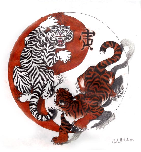 Chinese Tigers Yin Yang Tattoo Design