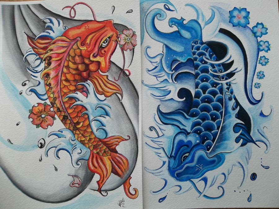 colored koi fish yin yang tattoo designs. Black Bedroom Furniture Sets. Home Design Ideas